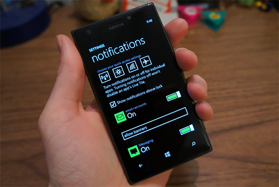 Новая фотография центра уведомлений Windows Phone 8.1