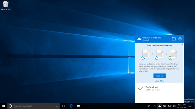 Сборка Windows 10 Insider Preview 16215 получила функцию OneDrive Files On-Demand